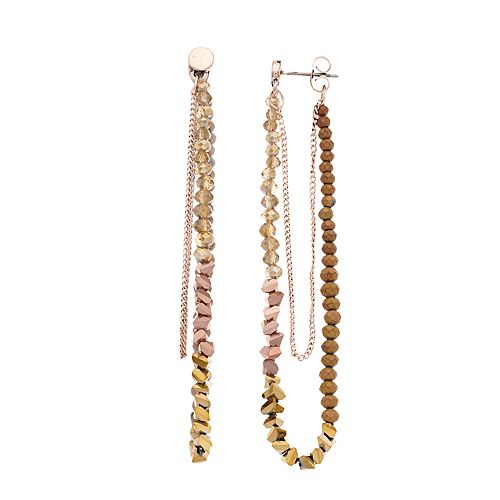 Simply Vera Vera Wang Rose Gold Tone Multi-bead Loop Post Earring