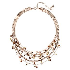 "Simply Vera Vera Wang Rose Gold Tone 17"" Simulated Crystal Beaded Frontal Necklace"