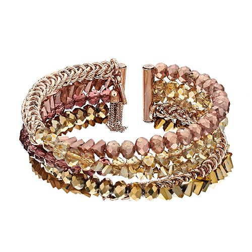 Simply Vera Vera Wang Rose Gold Tone Multi-bead Bangle Bracelet
