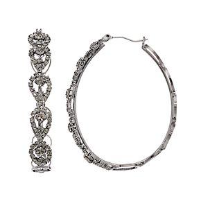 Simply Vera Vera Wang Hematite Tone Click It Lace Hoop Earrings