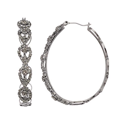 Simply Vera Vera Wang Hematite Tone Click It Lace Hoop Earrings