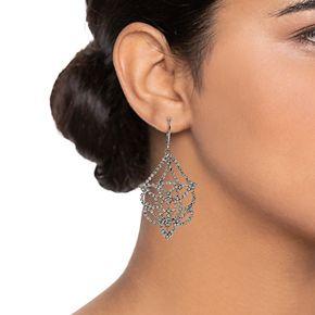Simply Vera Vera Wang Hematite Tone Lace Openwork Drop Earrings