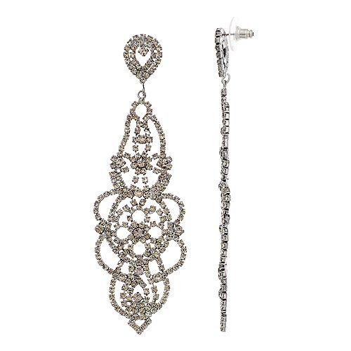 Simply Vera Vera Wang Hematite Tone Long Chandelier Post Earrings