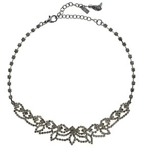 "Simply Vera Vera Wang Hematite Tone 13"" Simulated Crystal Lace Choker Necklace"