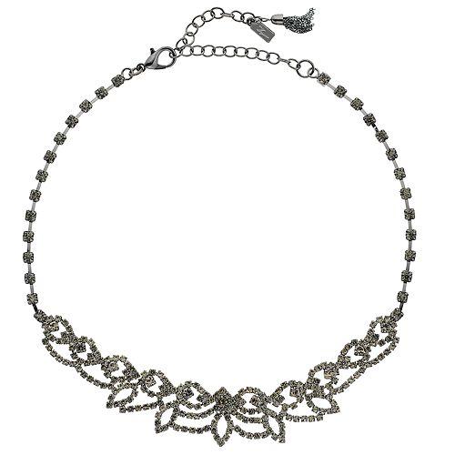 "Simply Vera Vera Wang Hematite Tone 13"" Simulated Crystal Lace Choker Necklace"