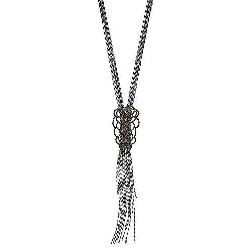 "Simply Vera Vera Wang Hematite Tone 17"" Multi-strand Lace Y Necklace"