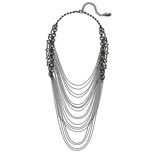 "Simply Vera Vera Wang Hematite Tone 17"" Simulated Crystal Multi-strand Necklace"