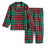 Toddler Boy Jammies For Your Families Red Plaid Notch Family 2-Piece Notch-Coat Set
