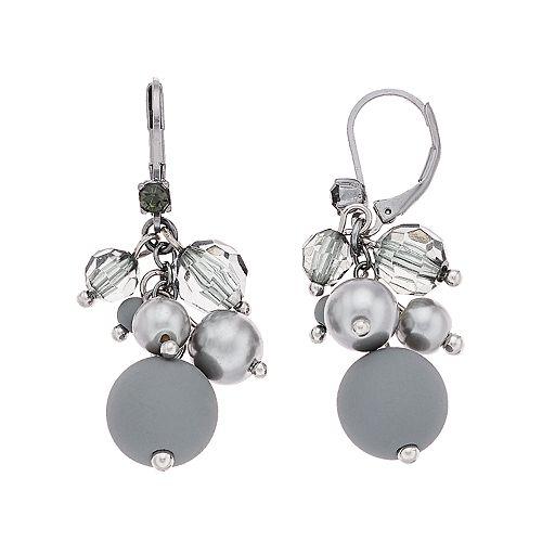 Simply Vera Vera Wang Hematite Tone Grey Bead Cluster Drop Earrings
