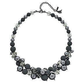 "Simply Vera Vera Wang Hematite Tone 16"" Beaded Frontal Necklace"