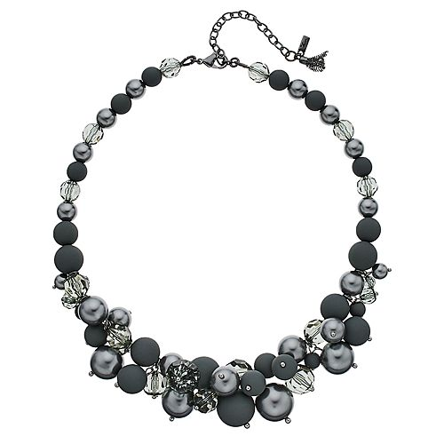 "Simply Vera Vera Wang Hematite Tone 16"" Beaded Frontal Necklace"