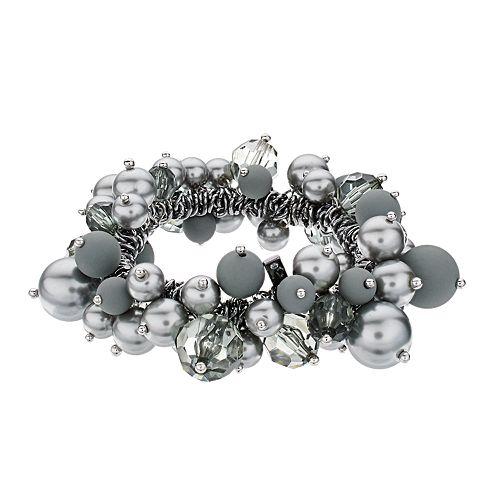 Simply Vera Vera Wang Hematite Tone Simulated Pearl Beaded Stretch Bracelet