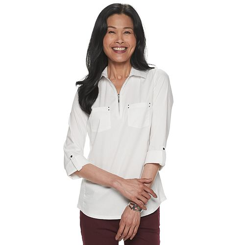 Women's Croft & Barrow® Roll-Tab Sleeve Popover Top