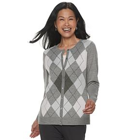 Women's Croft & Barrow® Argyle Button-Front Cardigan