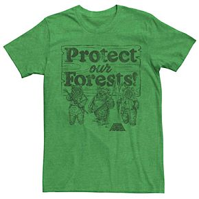 Men's Star Wars Ewoks Protect Our Forests Sign Graphic Tee