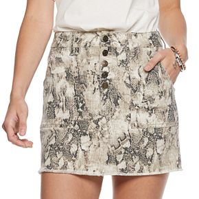 Juniors' Mudd Exposed Button Skirt