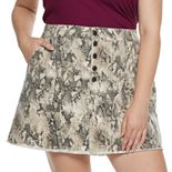 Juniors' Mudd® Plus Exposed Button Skirt