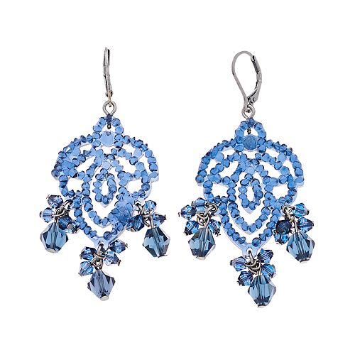 Simply Vera Vera Wang Hematite Tone Blue Lace Beaded Chandelier Drop Earrings