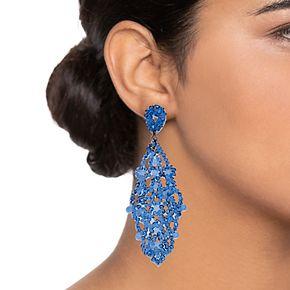 Simply Vera Vera Wang Hematite Tone Blue Lace Chandelier Post Earrings