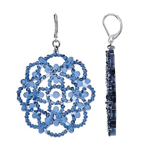 Simply Vera Vera Wang Hematite Tone Blue Lace Circle Drop Earrings
