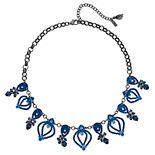 "Simply Vera Vera Wang Hematite Tone 17"" Blue Link Frontal Necklace"