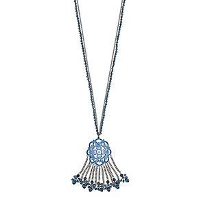"Simply Vera Vera Wang Hematite Tone 32"" Blue Link Pendant Necklace"