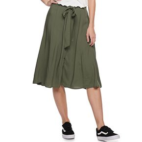 Juniors' SO® Button Front Midi Skirt