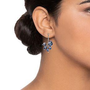 Simply Vera Vera Wang Silver Tone Blue Simulated Crystal Cluster Drop Earrings