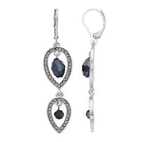 Simply Vera Vera Wang Silver Tone Simulated Crystal Double Teardrop Leverback Earrings