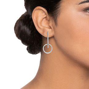 Simply Vera Vera Wang Silver Two-tone Hoop Post Drop Earrings
