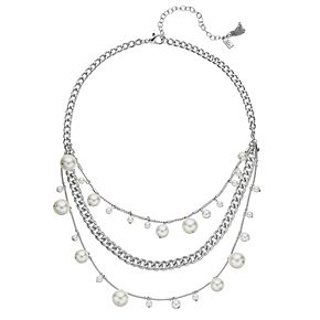 Simply Vera Vera Wang Silver Tone Simulated Pearl Frontal Chain Necklace