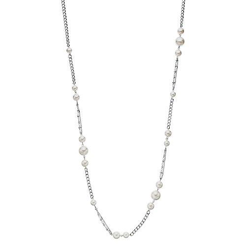 "Simply Vera Vera Wang Silver Tone 40"" Simulated Pearl Chain Strand Necklace"