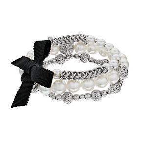 Simply Vera Vera Wang Silver Tone Simulated Pearl 3 Piece Bracelet Set