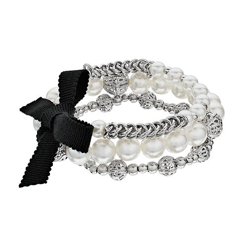 Simply Vera Vera Wang Silver Tone Simulated Pearl 3 Piece Bracelet Set