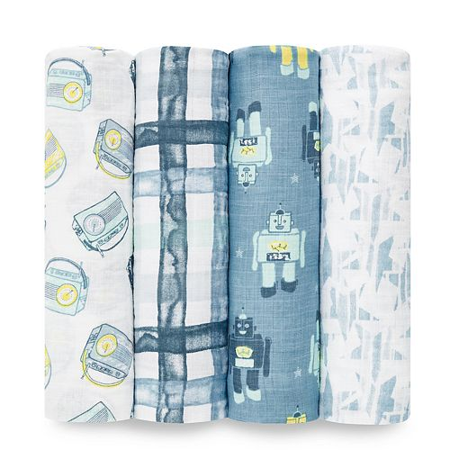 Boys aden + anais® Essentials Muslin Swaddle Blankets 4-pack, Retro Prints