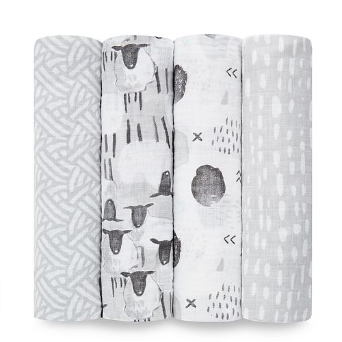 aden + anais Essentials Muslin Swaddle Blankets 4-pack, Pasture