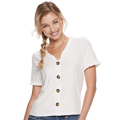 Juniors' American Rag Ruffle V-Neck Button