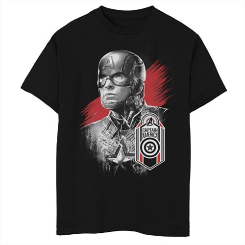 Boys 8-20 Marvel Avengers Endgame Captain America Tag Portrait Graphic Tee