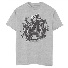 Boys' Marvel Avengers Endgame Heroes Around Logo Graphic Tee