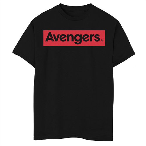 Boys 8-20 Marvel Avengers Endgame Bold Red Square Logo Graphic Tee