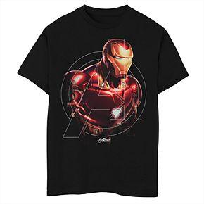 Boys' Marvel Avengers Endgame Iron Man Logo Fill Graphic Tee