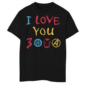 Boys' Marvel Avengers Endgame I Love You 3000 Doodles Graphic Tee