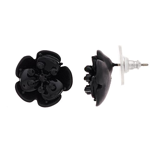 Simply Vera Vera Wang Black Flower Stud Earrings