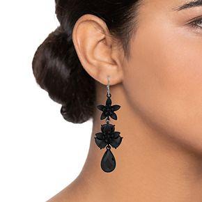 Simply Vera Vera Wang Black Double Flower Leverback Drop Earrings