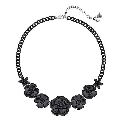 """Simply Vera Vera Wang Black 17"""" Large Glass Flower Frontal Necklace"""