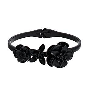 Simply Vera Vera Wang Black Glass Flower Hinge Cuff Bracelet