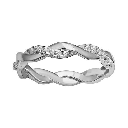 Women's Primrose Sterling Silver Pave Cubic Zirconia Polished Braided Band Ring