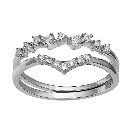 Women's Primrose Sterling Silver Cubic Zirconia Cluster V Shape Band Ring