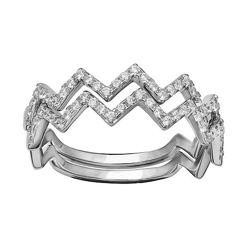 Women's Primrose Sterling Silver Polished Cubic Zirconia Double Zig Zag Band Ring