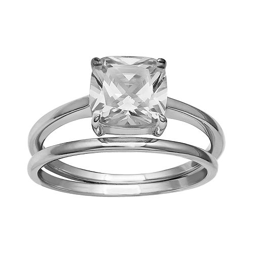 Women's Primrose Sterling Silver Cubic Zirconia Polished Band Ring
